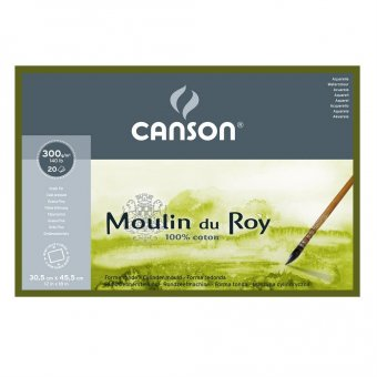 Блок для акварели Canson Moulin du Roy 300г/м.кв 30.5x45.5см 20л Фин